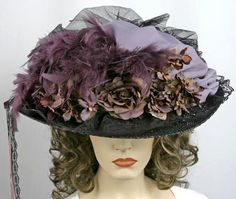 victorian hats | Catalog > Victorian Lavender Black Feather Hat