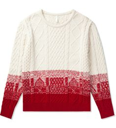 Munsoo Kwon White/Red Cable Gradation Sweater