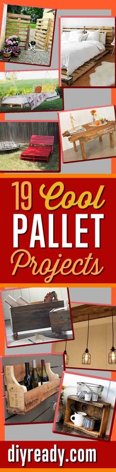 Cool DIY Pallet Projects and DIY Pallet Furniture   Coffee Table, Pallet Bed, Pallet Swing, Pallet Wine Rack, Shelves and More Easy Repurposed Pallet Ideas for Upcycling with Wooden Pallets http://diyready.com/19-cool-pallet-projects-pallet-furniture/