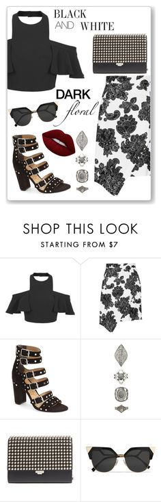 """""""black and white"""" by ririmar ❤ liked on Polyvore featuring Tanya Taylor, Sam Edelman, Forever 21, Michael Kors, Fendi and Lime Crime"""