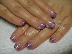 Short Gel Nails | Natural uv gel overlay - purple glitter