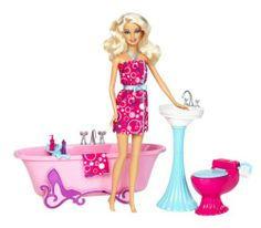 Barbie Glam Bathroom Furniture and Doll Set by Mattel. $19.99. Collect the whole Barbie Glam Furniture Collection. Room features elegant details and a classic look. Introducing the new Barbie Glam Furniture Collection. Play and Display feature allows girls to place furniture and accessories in different ways. Includes Barbie doll, furniture and tons of accessories. From the Manufacturer                Barbie Glam Bathroom Furniture and Doll Set: Barbie doll is a fashion f...