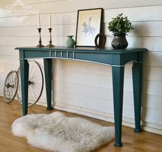 Black Long Console Table Painted In MMS Milk Paint Typewriter Made From  Recycled Timber, And Distressed To Create An Authentic Rustic Appeal. Www.