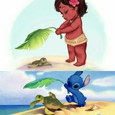 I found another easter egg! Stich and Moana both shading a turtle on its way to the ocean. Disney is awesome and sneaky  #liloandstich #moana #turtle #disney #disneyeastereggs #awesome #hawaii