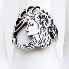 Art Nouveau Ring Sterling Silver by BerrysGems on Etsy