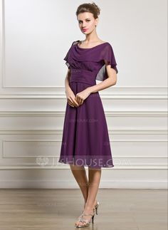 A-Line/Princess Cowl Neck Knee-Length Beading Sequins Cascading Ruffles Zipper Up Sleeves Short Sleeves No 2015 Grape Spring Summer Fall General Plus Chiffon Mother of the Bride Dress