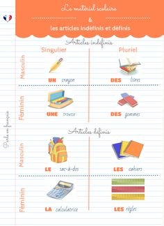 Francés Zampieri y Quaglini: Le matériel scolaire / Les articles indéfinis et définis