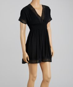 Black Crochet Shirred Empire-Waist Dress - Women   Daily deals for moms, babies and kids