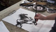 Happy 2014 the Year of the Horse!  Datong Xu doing a Chinese Brush Painting