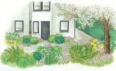 Zum Nachpflanzen: Schattenbeet zwischen zwei Häusern -  Der schmale Streifen zwischen zwei Häusern bekommt nur kurz die Sonne zu sehen. Auf üppigen Bewuchs muss man deshalb nicht verzichten. Unsere Gartenidee zum Nachpflanzen.