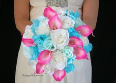 Turquoise and Hot Pink Wedding Flowers with tipped hot pink calla lilies, tiffany blue roses and malibu blue hydrangea