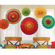 (6) Fiesta Cinco De Mayo Fan Decorations 9054