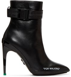 Off-White - Black 'For Walking' Ankle Boots