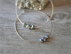 sterling silver hoop earrings with stones large hoop earrings faceted rough cut pyrite nuggets festival jewelry boho jewelry beach jewelry