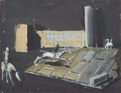 Mario Sironi (Italian, 1885-1961), Paesaggio urbano con cavalieri [Urban landscape with horsemen], 1930s. Tempera on paper laid on canvas, 42 x 50
