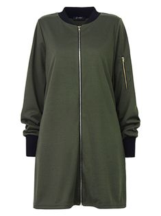 O-NEWE L-5XL Fashion Women Pure Color Stand Collar Zipper Jacket