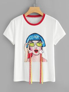 To find out about the Studs & Flower Applique Figure Print Tee at SHEIN IN, part of our latestT-Shirts ready to shop online today! T Shirt Painting, Fabric Painting, 3d Painting, Discount Womens Clothing, T Shirt Diy, Tee Shirt, Western Dresses, Flower Applique, Mom Shirts
