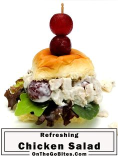 Our easy chicken salad recipe is classic with the addition of grapes and celery. Leave the bun out for low carb or keto. Use leftover chicken or rotisserie chicken. Homemade and healthy. OnTheGoBites.Com #chickensalad #summersalads #picnicfood