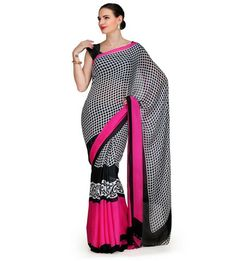 Black and White Printed Georgette Saree | Fabroop USA