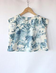 Vintage 60s Blue Floral Print Top