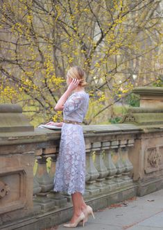 Spring Occasion Wear: @monsoonuk Periwinkle Lace Midi Dress and nude heels in NYC Central Park