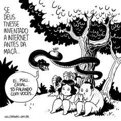 Adão Eva celular internet casal cobra Deus fruto proibido entretido gordinhos