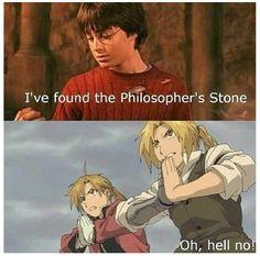 LMFAO, anime humor! {manga, FMA, Fullmetal Alchemist, Harry Potter, Edward Elric, Alphonse Elric,Philosophers Stone}