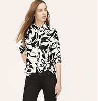 Tall Painted Floral Utility Blouse - In a flourishing painted floral print, roll tab sleeves give this refined essential its modern attitude. Collared. Long sleeves. Button front. Flap patch pockets. Button-through roll tabs at sleeves. Button cuffs. Shirttail hem. Gathered beneath back yoke.