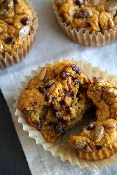 Pumpkin Oat Greek Yogurt Muffins -- made without flour, butter, or oil, but so ridiculously tender and delicious that you'd never be able to tell! || runningwithspoons.com #healthy #muffins #pumpkin #glutenfree