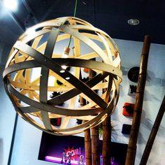 Circle wood lamp.