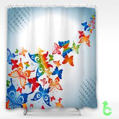 Cheap spring colorful butterfly Shower Curtain