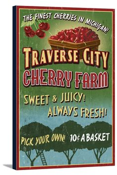 Canvas (Traverse City, Michigan - Cherry Farm Vintage Sign - Lantern Press Artwork)