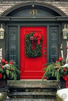 Front Door Christmas Decor House Front Porch Christmas Decor Ideas To Make This Year! 40 Christmas Door Decorations Ideas You Can Copy . 30 Spectacular Front Door Decoration Ideas For Christmas . Home Design Ideas Unique Front Doors, Front Door Colors, Front Door Decor, Red Front Doors, Black Doors, Cool Doors, The Doors, Windows And Doors, Houses With Red Doors