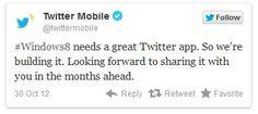 Twitter está construindo seu próprio aplicativo para Windows 8