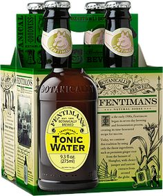 Fentimans. An organic grain base, milled quinine bark and lemongrass are brought together to create a natural tonic water that is distinctly zesty and brewed to perfection. There is a sharpness derived from the bitter, woody aromas of quinine bark, mixed with a light dose of cane sugar.
