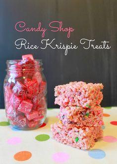 Starbursts + Nerds = Candy Shop Rice Krispie Treats for Yum! Yummy Snacks, Delicious Desserts, Dessert Recipes, Yummy Food, Rice Krispie Treats, Rice Krispies, Nerds Candy, Dessert Bar Wedding, Candy Shop