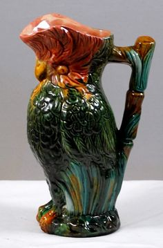 Antique Figural Majolica Parrot Pitcher Art Pottery Early 1900s