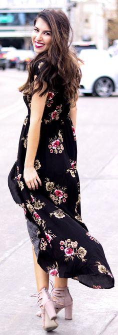 #spring #fashion /  Black Flower Printed Maxi Dress / Purple Pumps