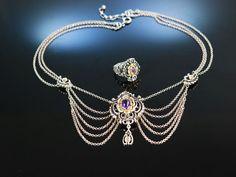 Amethyst Trachtenschmuck! Kette und Ring Silber 835 vergoldet, silver necklace and ring, traditioneller Trachtenschmuck bei Die Halsbandaffaire