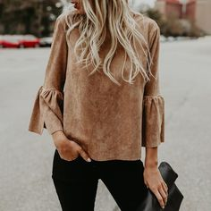 Fashion Solid Flare Sleeve Fluffy Blouse