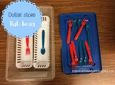 Dollar Store Task Boxes/ Independent Work time tasks for special education or autisim classrooms