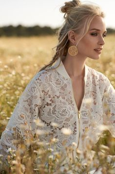 Rembo styling — 2018 Collection — White Smoke: Dress with fine embroidered skirt and deep v-neck. Back finely finished.
