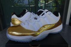 "Air Jordan 11 XI Retro Low ""Olympic Gold Medal"" White/Mtlc Gold Coin Ref 528895-103"