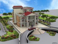 Sims House Design, Bungalow House Design, House Front Design, Modern House Design, Dream Home Design, Architect Design House, European Style Homes, House Design Pictures, Villa Design
