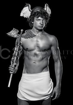 Hermes - God of Flight - Greek Mythology Costumes, Greek Mythology Gods, Greek Gods And Goddesses, Greek God Costume, Percy Jackson Characters, Scary Halloween Costumes, Male Figure, Ancient Greece, Black Is Beautiful
