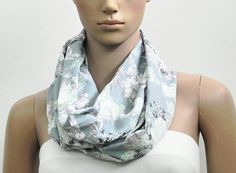 Gray Pastel Infinity Scarf Floral Circular Loop by FashionPopups