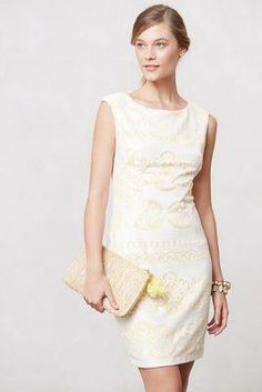 lemon + lace shift dress Anthropologie #currentlyobsessed