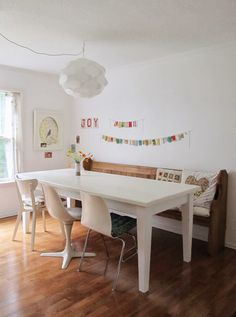 dottie angel: dabbling with chalk paint... (I like that bunting in the background!)
