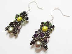 Midori Magic Freeform peyote seed bead woven earrings by MayaMani, #beadwork #freeform