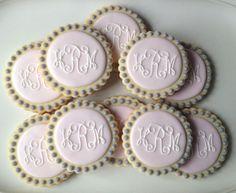 Pink and Grey Monogram Cookies  1 dozen by TwoCrazyCookies on Etsy